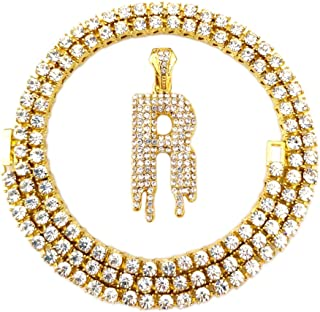 HH Bling Empire Iced Out Hip Hop Gold Faux Diamond Bubble Dripping Letter A to Z Tennis Chain Necklace 20 Inch