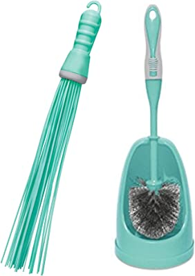 Spotzero by Milton Kharata Plastic Hard Bristle Broom (Aqual Green) &  180 Degree Water Wiper-Small 0.7 x 27.3 x 67 cm(Aqua Green) Combo