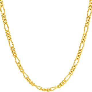 LIFETIME JEWELRY 3.5mm Figaro Chain Necklace for Men & Women 24k Gold Plated with Free Lifetime Replacement Guarantee