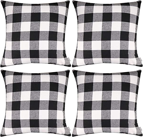 4 Pack Plaids Throw Pillow Case Soft Cotton Canvas Pillow Covers Cushion Cover Home Decorative18 X 18 Inch 4545cm Cover Only No Insert Black White Plaids