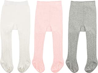 Zando Baby Leggings Soft Seamless Cable Knit Baby Tight Infant Tights For Baby Girls Clothes Toddler Pant Stockings Newborn Winter Warm Thick Socks Ivory White & Light Grey & Ballet Pink S/0-6 Month