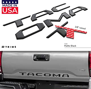 BDTrims Domed 3D Raised Tailgate Letters Compatible with 2016-2020 Tacoma Models (Matte Black)
