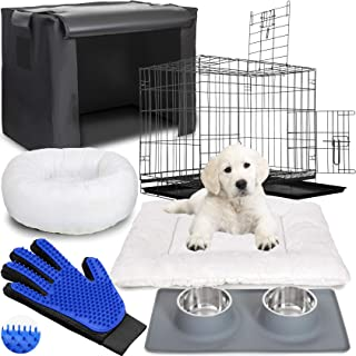 Deco Pet Essential Pet Supplies Bundle- Indoor Pet Kennel Metal Folding Crate, Indoor/Outdoor Cover & Pad, Orthopedic Bolster Bed with Washable Cover, Pet Grooming Glove and Satinless Steel Bowl