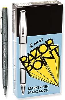 Pilot Razor Point Pens, Extra-Fine Point, 0.3 mm, Black Barrel, Black Ink, Pack of 12 Pens