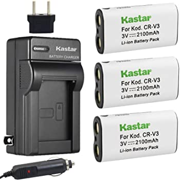 2 Pack Replacement for Kodak Z8612 is Battery Compatible with Kodak CR-V3 Digital Camera Battery and Charger 1300mAh 3.3V Lithium-Ion Charger