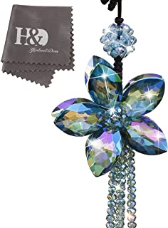 Qf Rainbow Crystals Flower Car Pendants Lucky Hanging Rearview Mirror Pendant Car Decor Ornament…