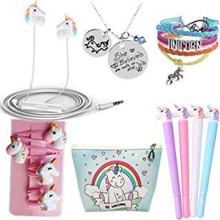 Ultimate Unicorn Gifts For Girls-Birthday Party Favors Gifts Unicorn 3D Earphone/Makeup Bag/Bracelet/Hair Ties/Pen-Fashion