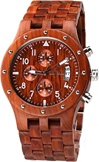 Bewell W109D Red Luminous Wooden Dress Wristwatch with Date Stopwatch for Men