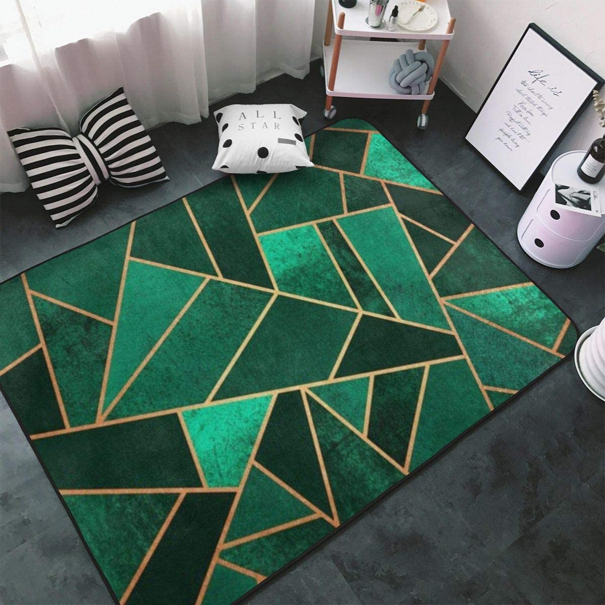 Very popular Emerald and Copper Mosaic Area Rug Dining Credence Room Ca Bedroom Living