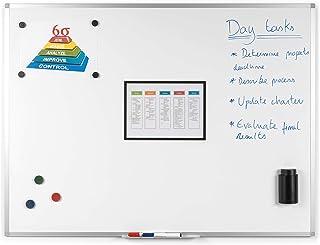 BoardsPlus - Tableau Blanc Magnétique, 90 x 60 cm, avec cadre en aluminium et porte-marqueurs