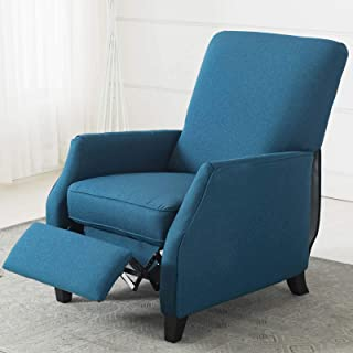 CANMOV Fabric Recliner Chair, Wingback Single Modern Sofa for Living Room, PushBack Accent Reclining Chair, Blue 02
