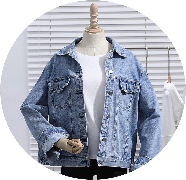 Summer Vintage Solid Women Denim Coat Lapel Long Sleeve Button Loose Slim Female Short Jackets