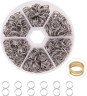 PandaHall Elite 2600 Pcs 304 Stainless Steel Split Rings Double Loop Jump Ring Diameter 8mm for Jewelry Making
