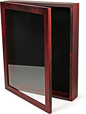 ForeverFrames - 12x15x2 Shadow Box Display Case   Magnetically Opens and Closes like a Door - Real Wood, Strong Glass, Linen