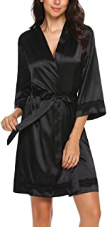 Ekouaer Women's Lace-Trim Kimono Style Short Satin Robe Sleepwear with 3/4 Sleeve
