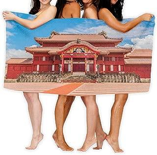 首里城 (沖縄) バスタオル 大判 家庭用 ふわふわ 柔らかい スポーツタオル ビーチタオル 人気 おしゃれ 特大サイズ 80 X 130cm 1枚