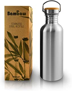Single wall Stainless Steel Water Bottle | 1 Litre Water Bottle | Eco Friendly Reusable Bottle | Campfire Proof | Plastic Free and Leakproof metal water bottle | 34 oz Eco Water Bottle | Bambaw