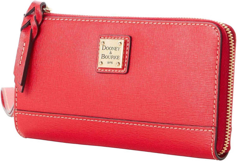 Dooney & Bourke Saffiano Leather Folded Zip Wristlet Wallet, RED