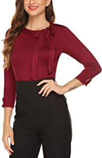 Womens Bow Tie Neck Long/Short Sleeve Casual Office Work Blouse Shirts Tops