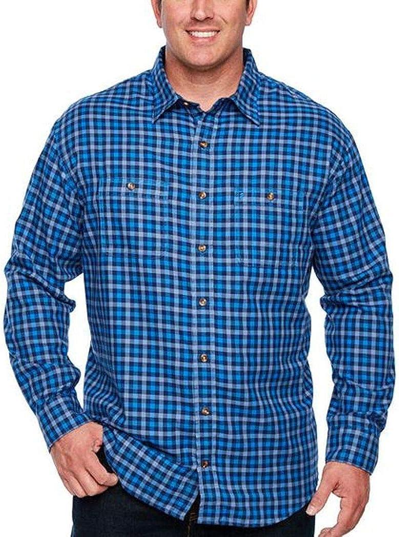 IZOD Men's Classic Fit Temperature Regulating Harbor Twill Long Sleeve Shirt Plaid