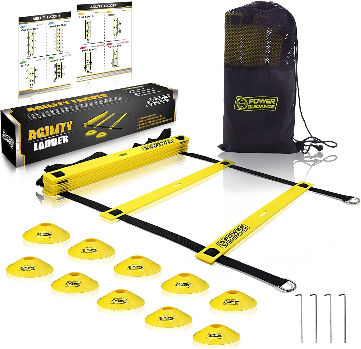 POWER GUIDANCE Agility Ladder 20 Feet for Be super welcome Manufacturer regenerated product Traini Speed