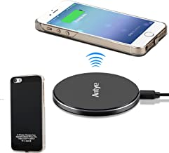 Antye Qi Wireless Charger Kit for iPhone 5 5S SE - Including Wireless Charging Receiver Case and Aluminum Wireless Charging Pad Station