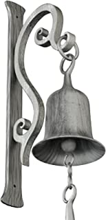 2wayz Dinner Bell, Cast Iron Design, Featured on an Antique Vintage Rustic Farmhouse Bracket. Classic Cabin Metal Mount for Indoor Outdoor Decoration