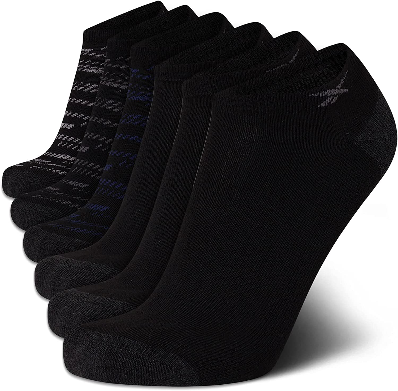 Reebok Mens' Breathable No-Show Low Cut Basic Cushion Socks (6 Pack), Size Shoe size: 6-12.5, Black