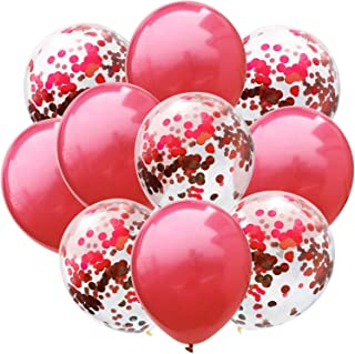 Party Propz 18 Pcs Red Confetti and Metallic Balloons Combo For Valentines Day/ Birthday/ Anniversary/ Bachelor Party Deco...