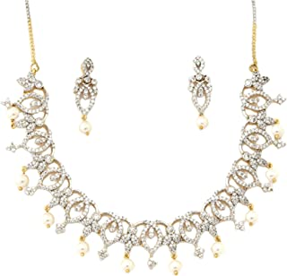 Miracle Jewels Designer Look Pearl Drop Antique Necklace Set for Women & Girls
