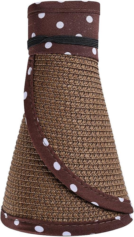 Aerusi Women's Roll 100% quality warranty! Up Straw Floppy Wide Purchase Brim Hat Visor Sun