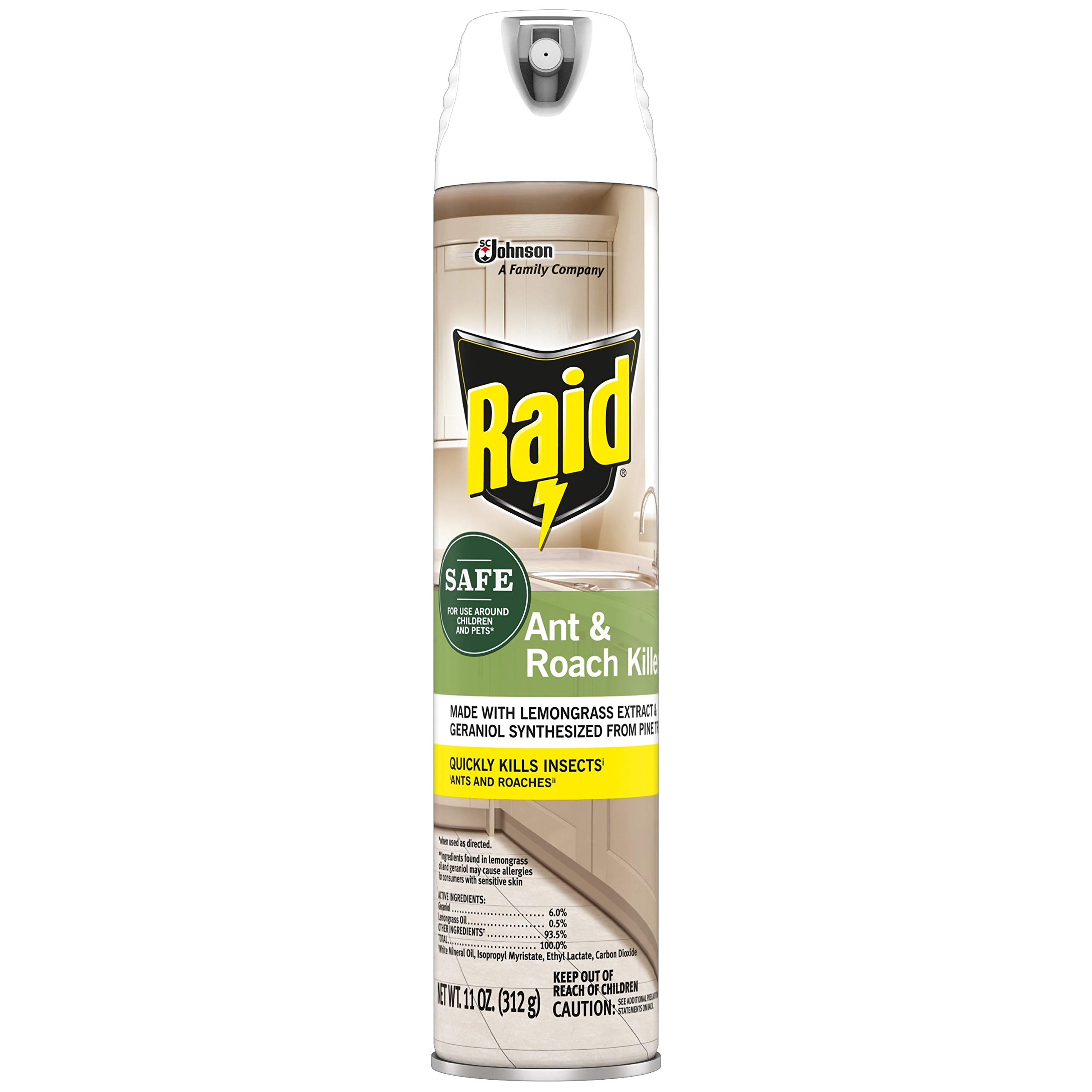 Raid Ant & Roach Killer Spray for Listed Bugs, Insect, Spider, For Indoor Use, Essential Oils, Child & Pet Safe, 11 Oz, Pack of 1