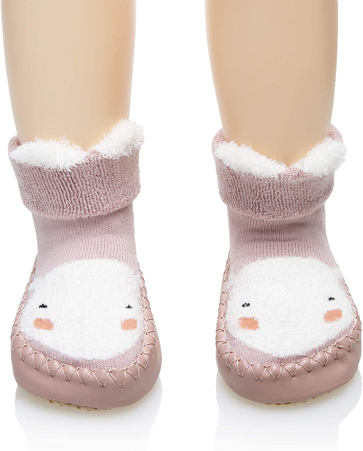 Baby Boy Girl Animal Moccasins Non-Skid Indoor Slipper Toddlers Winter Warm Shoes Socks