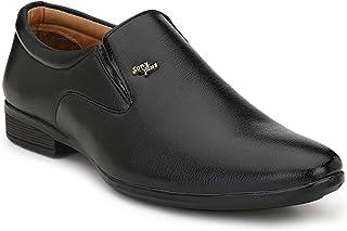 HEEDERIN Men's Black Synthetic Slip on Officewear Formal Shoes