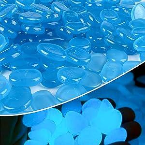 Anothera 1000 pcs Blue Glowing Rocks Glow in The Dark Pebbles Solar Stones Outdoor Garden Lawn Walkway Decorative (Blue)