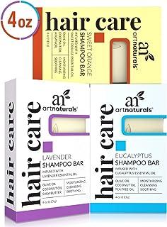 ArtNaturals Shampoo Bar 3 Piece Set - All Natural - Eucalyptus, Lavender and Orange - Solid Soap for Oily a...