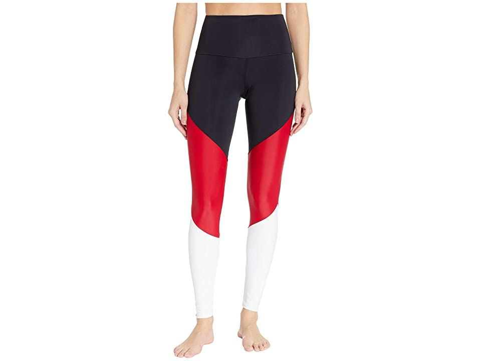 Onzie High-Rise Track Leggings (Black/Red Combo) Women