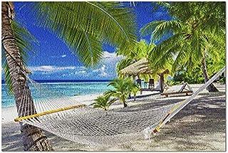 HOOBBI för vuxna 1 000 pussel pusselhammock på en tropisk strand i Rarotonga Cooköarna södra Stilla havet fotografi för ba...