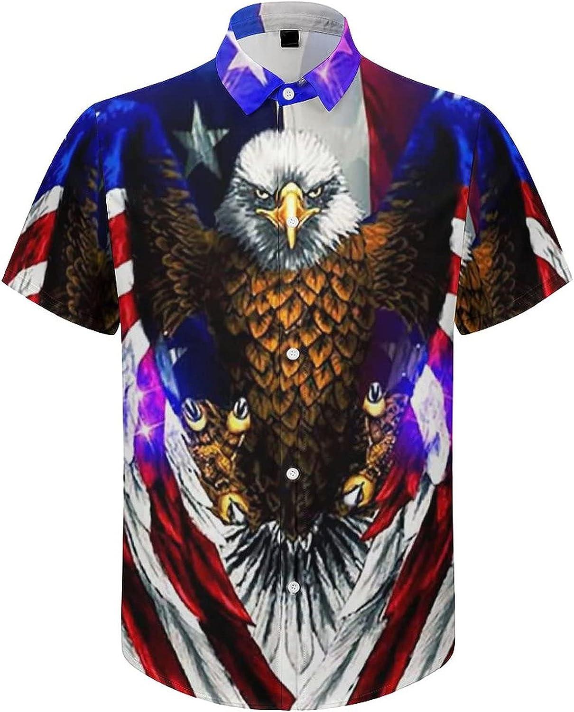 Men's Short Sleeve Shirts American Flag and Eagle Button Down Tops Summer Beach Dress Shirts