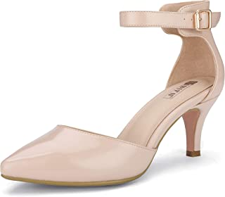 Women's IN3 D'Orsay Pointed Toe Ankle Strap Mid Heel Low...