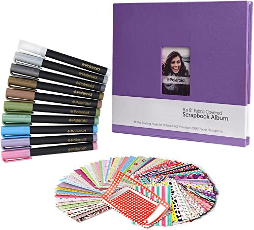 lowest Scrapbook Deluxe discount Colorful Bundle - 8x8 outlet sale Cloth Scrapbook + 100 Sticker Border Frames + 10 Metallic Markers for Fuji Instax Mini 9, 26, 8, 7 Instant Camera Projects outlet sale
