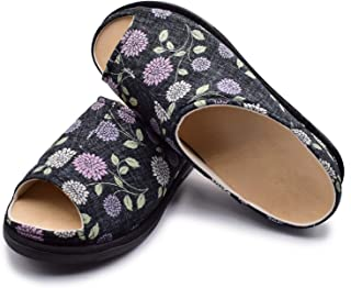 W&Le-Slippers Women's Extra Wide Adjustable Diabetic Slippers, Arthritis Edema Shoes-Detachable Insole