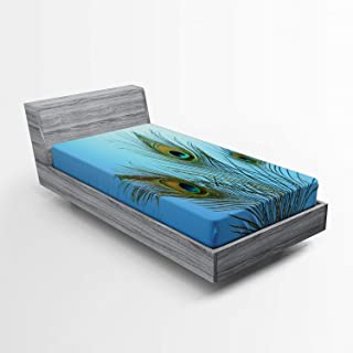 Lunarable Peacock Fitted Sheet, Fluffy Peacock Feathers Vivid Colors Similar to Mythical Phoenix Immortality Theme, Soft Decorative Fabric Bedding All-Round Elastic Pocket, Twin Size, Green Blue