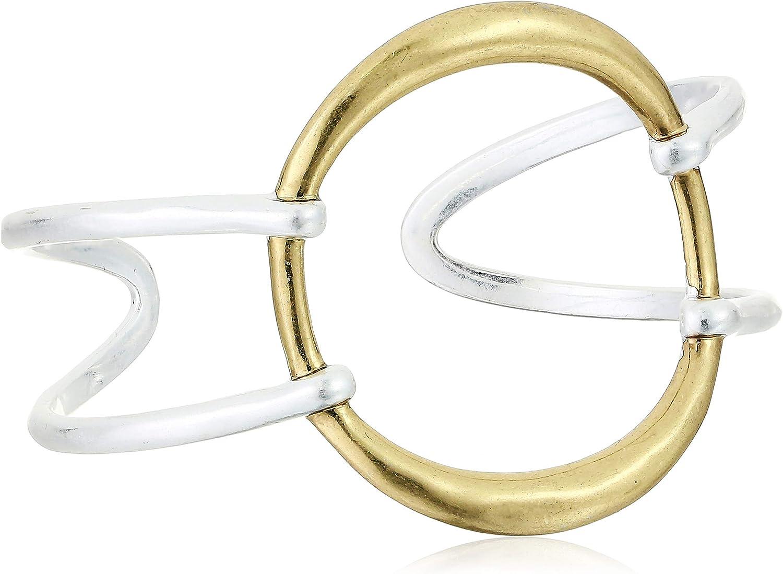 Lucky Brand Women's Modern Two Tone Circle Cuff Bracelet, One Size