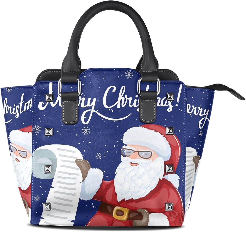My Little Nest Women's Top Handle Satchel Handbag Santa Claus Holding Wishlist Ladies PU Leather Shoulder Bag Crossbody Bag