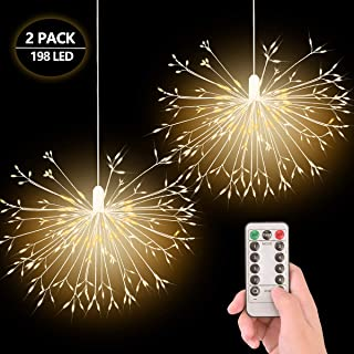 EVILTO 198 LED Firework Lights Fairy Lights with Battery Operated Hanging Starburst Lights Waterproof 8 Modes Decorative Light for Outdoor/Indoor/Christmas/Party/Bedroom 2 Pack (Warm White)