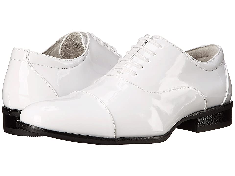 Mens Vintage Style Shoes| Retro Classic Shoes Stacy Adams Gala White Patent Mens Lace Up Cap Toe Shoes $65.00 AT vintagedancer.com