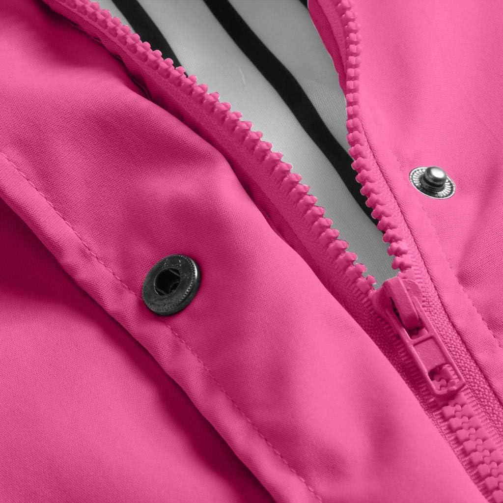 TOWAKM Wasserdichter Kapuzen Regenmantel Damen Solide Regenjacke Freien Winddichte Überzieher Multicolor Multicode Rosa