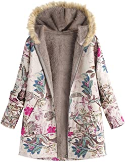 Womens Casual Coat Jacket Winter Warm Outwear Floral Print Hooded Pockets Vintage Overcoat