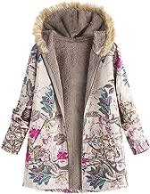 Women Fur Collar Zipper and Velvet Printed Cardigan Long Button Coat Outwear Windbreaker Jacket Pea Coat Trench